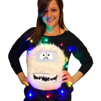Women's UGLY CHRISTMAS SWEATER - Bumble!!! - Light Up - Swoop Neck / Off The Shoulder Christmas Sweater  _____**Fast Shipping**_____