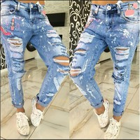 Hot Sale 2016 Newest Design Summer Jeans Full Length Zipper Fly Appliques Hole Ripped Women Harem Pants