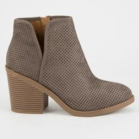 DELICIOUS Perforated Side Slit Womens Booties | Boots + Booties