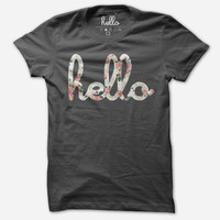 Hello Floral (Adult) Asphalt Poly-Cotton T-Shirt
