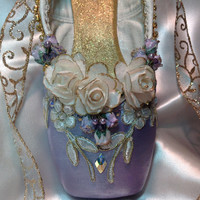 Purple and Gold Sugarplum Fairy decorated pointe shoe. Waltz of the Flowers. Lilac Fairy. Victorian ballet shoe. Sweet 16 birthday.