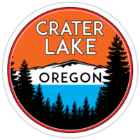 'CRATER LAKE NATIONAL PARK OREGON MOUNTAINS HIKING CAMPING HIKE CAMP BOATING FISHING 2' Sticker by MyHandmadeSigns