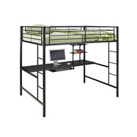 Metal Full over Workstation Bunk Bed - Black