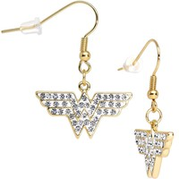 Officially Licensed Clear Gold Plated Wonder Woman Dangle Earrings