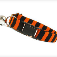 "Halloween Cat Collar - ""Zombie Madness"" - Orange & Black Stripe"