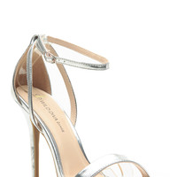 Silver Faux Leather Ankle Strap Single Sole Heels