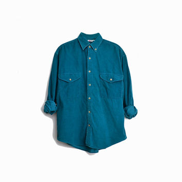 Vintage 90s Teal Corduroy Boyfriend Shirt / Button-Down Corduroy Shirt - men's small