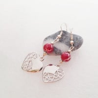 Red hearts earrings delicate christmas gift idea for her valentines gift package wonderful fuchsia agate stone