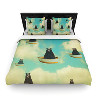 "Natt ""Bears"" Floating Animals Woven Duvet Cover"