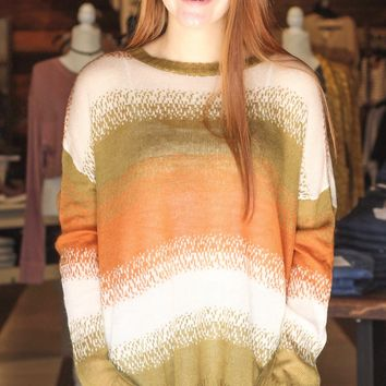 Olive-Rust Lightweight Knit Sweater