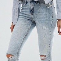 River Island Acid Wash Ripped Knee Molly Jeggings at asos.com