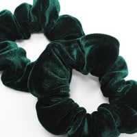 Emerald Velvet Hair Scrunchies, Hair Ties, Gentle Hair Elastic, Hair Accessories and Handmade Favors or Gifts