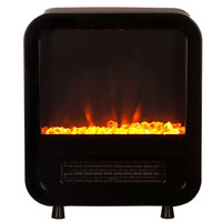 Black 1,500 Watt Electric Fireplace Space Heater Stove with Energy Efficient LED Lighting