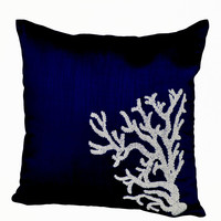 Oceanic Throw Pillow With White Coral Embroidered On Navy Blue Silk