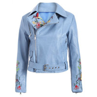 Fashion Zipper Fly Bird Embroidered Faux Leather Jacket