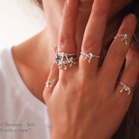 "New! FORGET Me KNOT RING - Stacking / Knuckle - Silver Bow Ring  -  Not Forget Me Ring - "" With Only a Rope "" Collection"