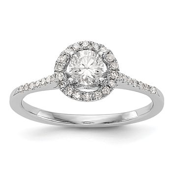3/4 Ct. T.W. Natural Diamond Halo Engagement Ring in 14K White Gold