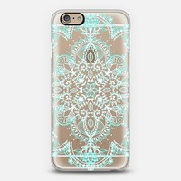 Aqua and White Lace Mandala - transparent iPhone 6 case by Micklyn Le Feuvre | Casetify