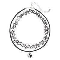 Mudd Ying Yang & Collar Necklace Set (Black)