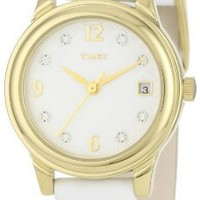 Timex Women's T2N449 Elevated Classics Swarovski Crystals White Leather Strap Watch