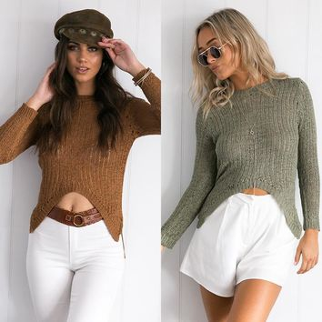 Knit Tops Autumn Sexy Sweater [11942978895]