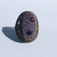 Antique Gold Ring with Purple Crystal Clay and Swarovski Crystals with Purple Micro Beads