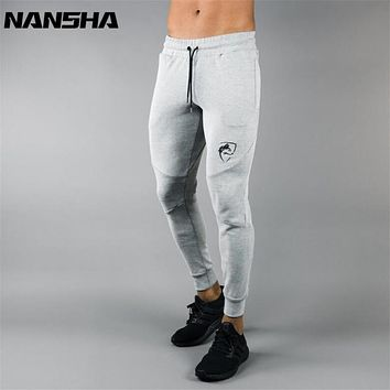 NANSHA New Sweatpants Men's Solid Workout Bodybuilding Clothing Casual Gyms Fitness Sweatpants Joggers Pants Skinny Trousers