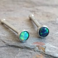 Light Green and Black Fire Opal Nose Bone Ring Stud