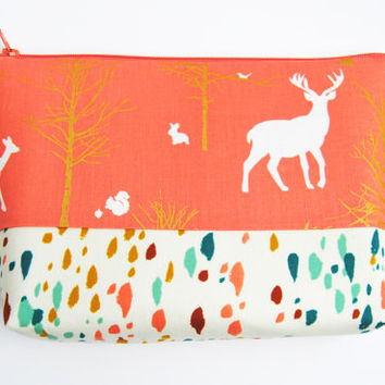 Coral zipper pouch, Peach cosmetic case, coral deer bag, large makeup bag, metallic gold trees,  pencil case