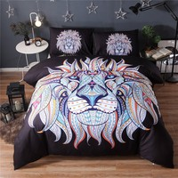 Lai Yin Sun Bedding Set Painting 3D Black Lion king Bedding Set Bohemia King Duvet Cover with Pillow Case 2/3PCS Indian style