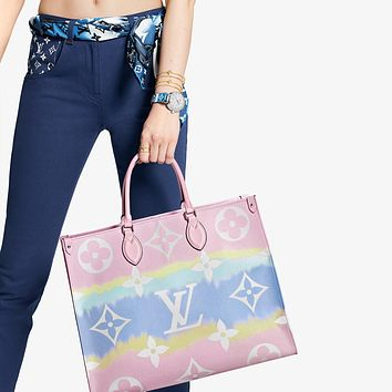 LV Louis Vuitton Escale Onthego GM women's fashionable tie-dye shopping bag