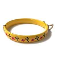Vintage Enamel Painted Hinged Metal Bangle Bracelet with Safety Chain, Yellow Bangle with Flowers,