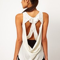 ASOS Vest With Lace Cutout Bow Back at asos.com