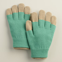 Green and Taupe 3-in-1 Wool Gloves - World Market