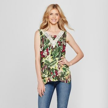 Women's Floral Print Blouse with Crochet Trim - John Paul Richard - Green