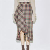 Women New Autumn Skirt Mid-calf A-line Skirt Female Fashion Maxi Plus Size Plaid Skirt Hot  72250 GS