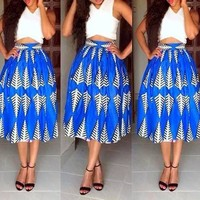 Blue Floral Tribal Print Crop Pleated Two Piece V-neck Prom Evening Party Maxi Dress