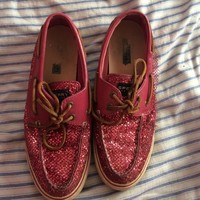 Pink glitter Sperry Boat shoes