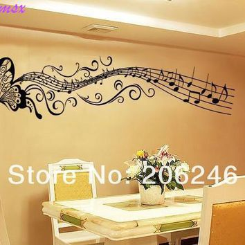 Hot Sale 2016 Butterfly music note Wall Art Vinyl Removable Sticker decor decal DIY