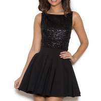Clothing : Structured Dresses : 'Violeta' Black Embellished Glitter Skater Dress