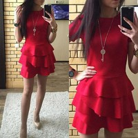 New Women Red Plain Tiered Round Neck Casual Cotton Blend Mini Dress
