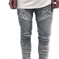 Hip-hop Men Jeans masculinaCasual Denim distressed Men's Slim Jeans pants Brand Biker jeans skinny rock ripped jeans homme