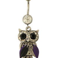 "14G 7/16"" Steel Feathered Owl Navel Barbell"