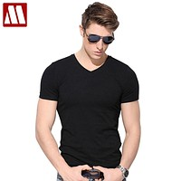 New style mens short sleeve summer t shirt slim fit cotton V collar t shirts for men fitness Tees