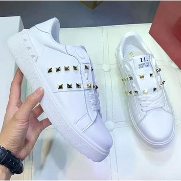 Valentino Fashion Women Casual Leather Rivet Sport Shoes Sneakers