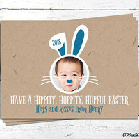 Easter Bunny Photo Greeting Card // Personalized Printable Craftpaper Easter Bunny Photo Card // Photo Card // Easter Photo Card