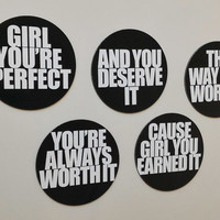 Earned It - The Weeknd 5 Piece Lyrical Magnet Sets: Girl You're Perfect, You're Always Worth It