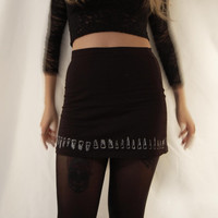 high waisted mini skirt // screen printed // human teeth // occult // witchy // punk // alternative