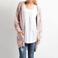 Winter With Pocket Ladies Twisted Cardigan [152645304345]