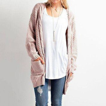 Winter With Pocket Ladies Twisted Cardigan [69056659471]